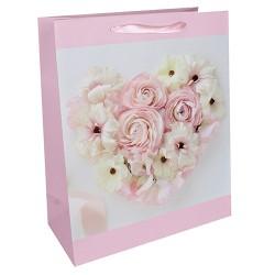 Dísztasak fényes 26 x 32 cm rózsaszín rózsák szív
