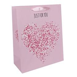 Dísztasak matt 26x32 cm Just for you rózsaszín szív