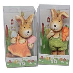Húsvéti kerámia nyúl PVC tartóban 8 cm fiú/lány vegyes