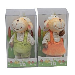 Húsvéti kerámia bárány PVC tartóban 8 cm fiú/lány vegyes