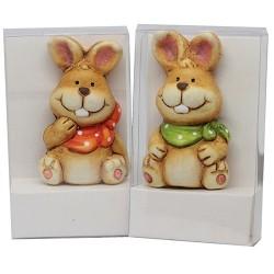 Húsvéti kerámia nyúl hűtőmágnes PVC tartóban 7 cm fiú/lány vegyes