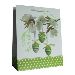 Dísztasak húsvéti 26 x 32 cm fehér/zöld tojások