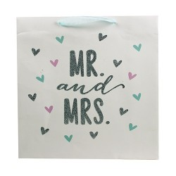 Dísztasak 30 x 30 cm matt glitteres Mr&Mrs fehér