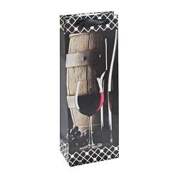 Dísztasak boros 13 x 36 cm matt hot stamping vörösbor+hordó