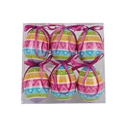 Húsvéti dekorációs tojás színes csíkos 6 cm 6 db/csomag