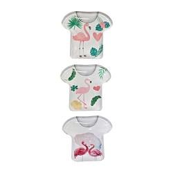 Hűtőmágnes 5x 6 cm póló alakú flamingós / 3 féle (üveg)