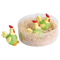 Húsvéti dekor tyúk plexitartóban sárga/zöld 2,5 cm 3 db/doboz ( polirezin )