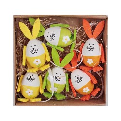Húsvéti nyuszitojás 4 cm 6 db/doboz ( műanyag )