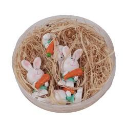 Húsvéti dekor nyúl répával plexitartóban 3,7 cm ( polirezin ) 4 db/doboz