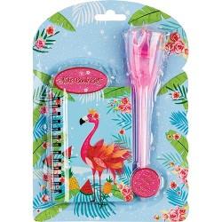 Napló Centrum 12x8 cm flamingó koronás-tollas tollal, vonalas