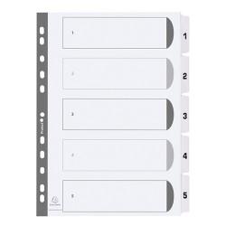 Regiszter karton Exacompta A/4 5 részes fehér