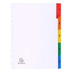 Regiszter karton Exacompta A/4 5 részes fehér, színes laminált fülekkel