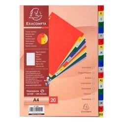 Regiszter PP Exacompta A/4 A-Z 20 részes színes