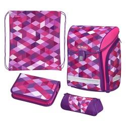 Iskolatáska Herlitz Midi Plus Pink Cubes