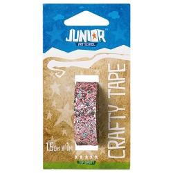 Kreatív Junior csillámos dekorszalag, világos rózsaszín, 15 mmx1 m