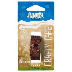 Kreatív Junior csillámos dekorszalag, bronz, 15 mmx1 m