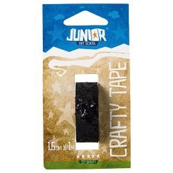 Kreatív Junior csillámos dekorszalag, fekete, 15 mmx1 m