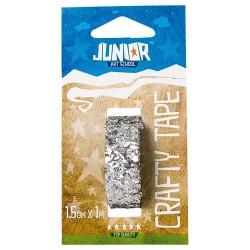 Kreatív Junior csillámos dekorszalag, ezüst, 15 mmx1 m