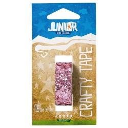 Kreatív Junior csillámos dekorszalag, rózsaszín, 15 mmx1 m