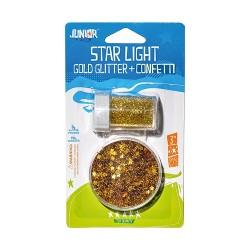 Kreatív Junior csillám + konfetti szett, arany, bliszteren