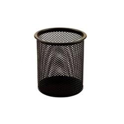 Írószertartó Fornax fémhálós kerek fekete 9x9,5 cm