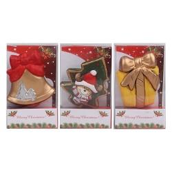 Hűtőmágnes karácsonyi 7 cm harang/ajándék/fenyőfa ( kerámia )