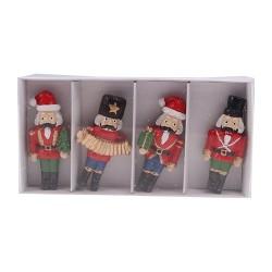 Hűtőmágnes karácsonyi 5,2 cm diótörő 4 db/ doboz ( polirezin )