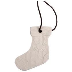 Karácsonyi kerámia akasztós 6 x 7 cm kötött csizma fehér
