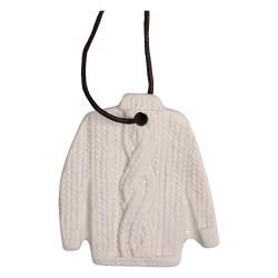 Karácsonyi kerámia akasztós 6 x7 cm kötött pulóver fehér