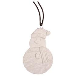 Karácsonyi kerámia akasztós 6 x 8 cm kötött hóember fehér