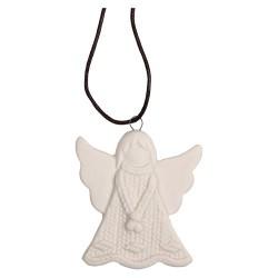 Karácsonyi kerámia akasztós 6 x 7 cm kötött angyal fehér