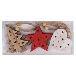 Karácsonyi fa akasztós 7 cm fenyőfa/szív /csillag natúr/fehér/piros, zsinórral 6 db/doboz