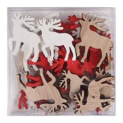 Karácsonyi fa dekoráció ragasztható 4 cm szarvas natúr/piros/fehér 24 db/doboz