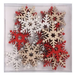 Karácsonyi fa dekoráció ragasztható 3 cm hópihe natúr/piros/fehér 24 db/doboz