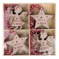 Karácsonyi fa akasztós 6 cm csillag/angyal, natúr/piros, zsinórral, 12 db/doboz
