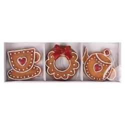 Karácsonyi polirezin akasztós mézeskalács figurák 6,5 cm 3 db/doboz