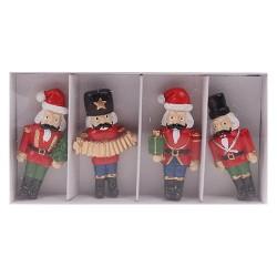 Karácsonyi polirezin diotörő figura öntapadós 5,2 cm 4 féle , 4 db/doboz