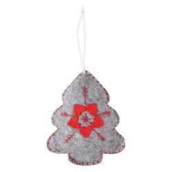 Karácsonyi filc akasztós fenyő 13 cm szürke piros mintával