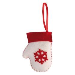 Karácsonyi filc akasztós kesztyű 10 cm krém piros mintával