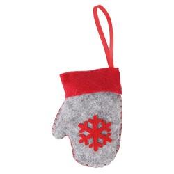 Karácsonyi filc akasztós kesztyű 10 cm szürke piros mintával