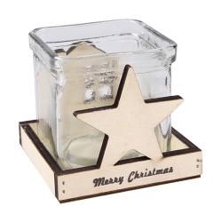 Karácsonyi üveg mécsestartó fa tartóban 9 x 8 cm csillag