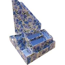 Iratpapucs karton szett Pigna Flowers iratpapucs, tolltartó, levéltartó, levéltálca