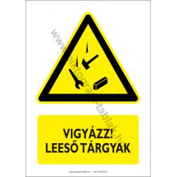 Leeső anyagok figyelmeztető tábla