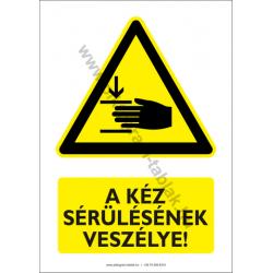 A kéz sérülésének veszélye figyelmeztető piktogram tábla
