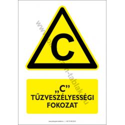 C tűzveszélyességi fokozat figyelmeztető piktogram tábla