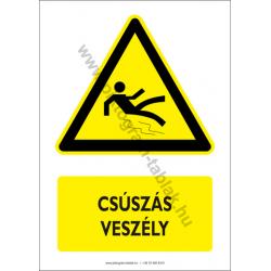 Csúszás veszély figyelmeztető piktogram tábla