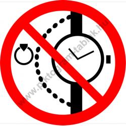 Nyaklánc, óra, gyűrű viselése tilos tiltó piktogram matrica