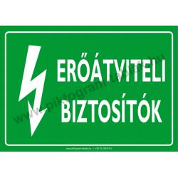 Erőátviteli biztosítók villamossági piktogram tábla