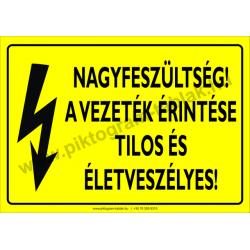 Nagyfeszültség! A vezeték érintése tilos és életveszélyes villamossági piktogram tábla