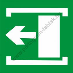 Utánvilágító vészkijárat balra piktogram tábla
